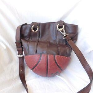 Brown Tignanello Bag w Spaulding Basketball